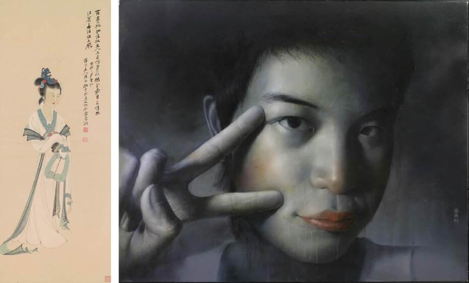 張大千|桃紅芳菲 115x44.5cm;羅展鵬|草莓族青春日誌(高雄美術獎得獎系列作品;印象畫廊提供)