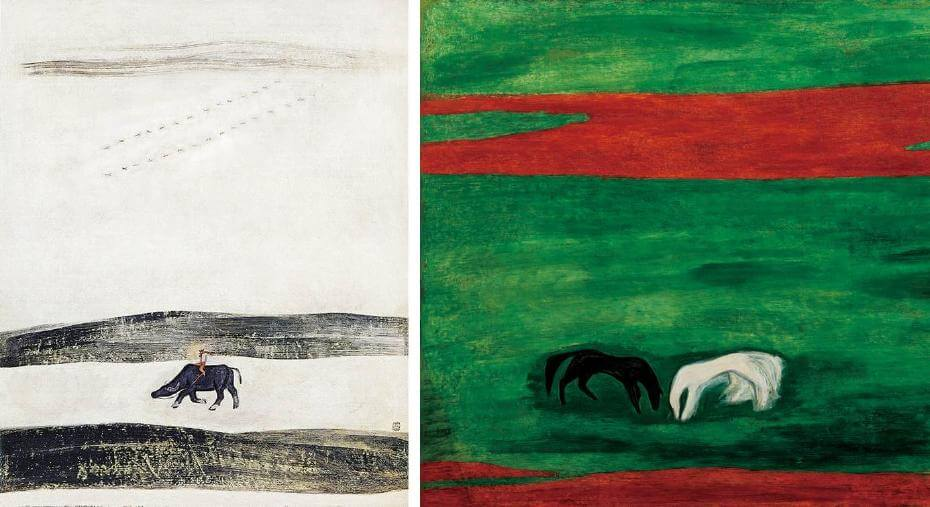 常玉早期作品|牧童與水牛(1940);常玉晚期作品|黑白雙馬(藝術微噴) 局部
