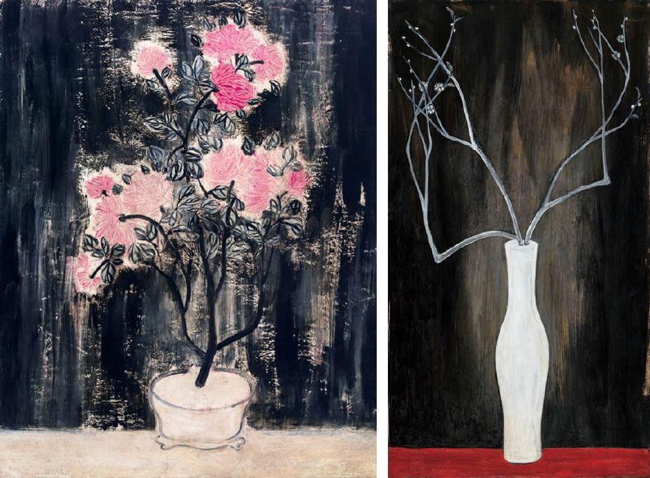 常玉早期作品|盆菊(1940);常玉晚期作品|瓶梅(藝術微噴)