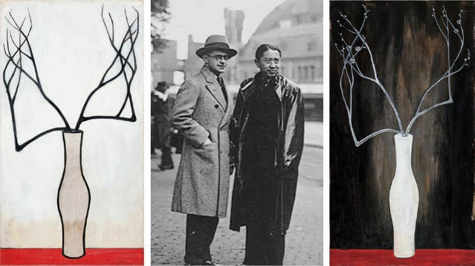 常玉|靜物(藝術微噴);1930年代常玉與荷蘭作曲家約翰合照;常玉|瓶梅(藝術微噴)