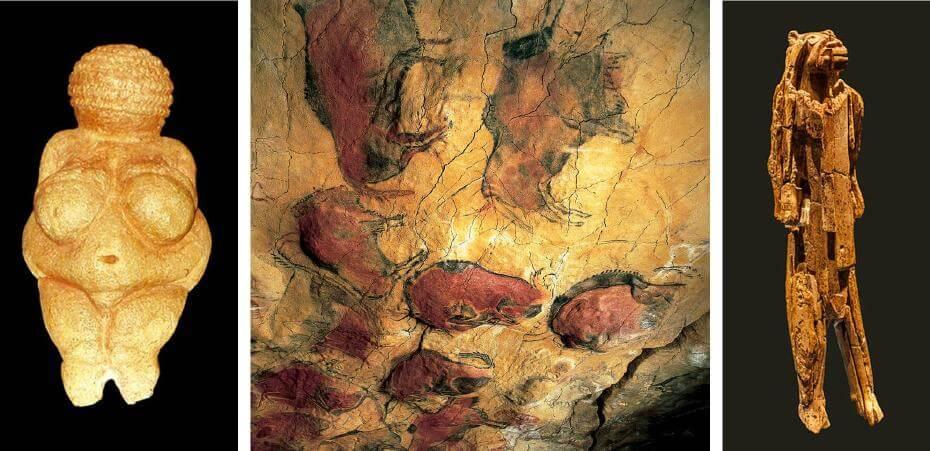 維倫多爾夫的維納斯(Venus of Willendorf);位於西班牙北部的阿爾塔米拉洞窟(Altamira)發現了距今可能超過2萬年的史前壁畫;史前獅子人雕像(Lion Man of Hohlenstein Stadel)