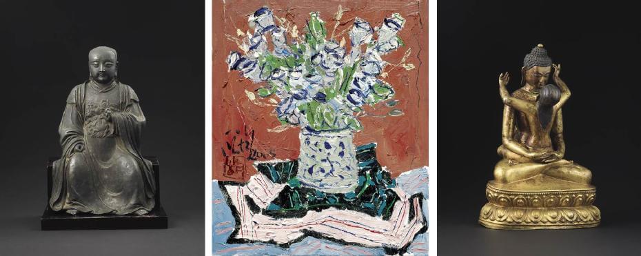 明 銅真武大帝坐像 H:38cm;龐均|桔梗的故事 53x45.5cm;18/19世紀 銅鎏金普賢王如來像 H:37.5cm