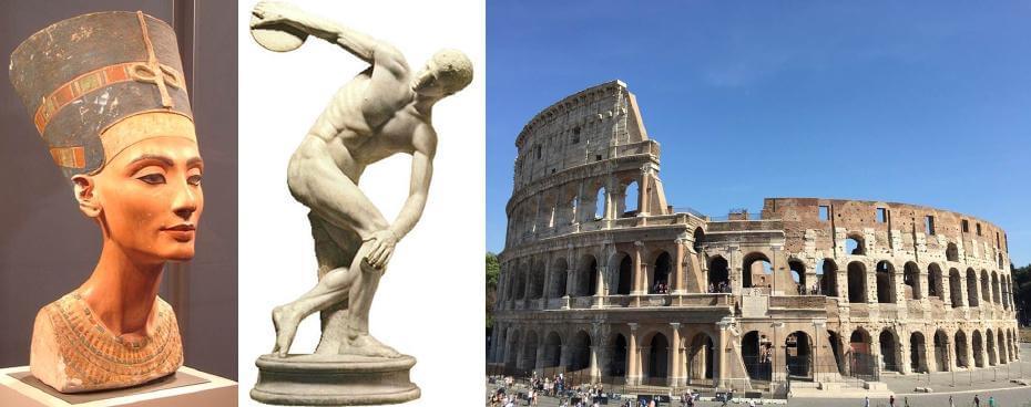 埃及王后涅菲爾蒂雕像;米隆|擲鐵餅者 希臘雕刻;羅馬競技場