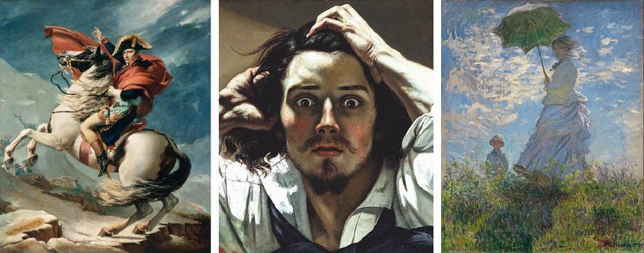 大衛|拿破崙越過阿爾卑斯山 新古典主義;庫爾貝|自畫像(局部) 寫實主義;莫內|撐洋傘的女人 印象派