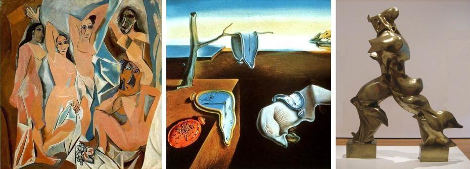 畢卡索|亞維農的少女自畫像 立體派;達利|時光靜止(局部) 超現實主義;博丘尼|空間中連續的形體 未來主義