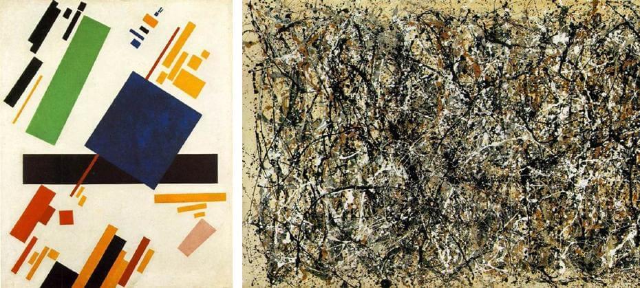 馬列維奇|絕對主義構圖;帕洛克|壹:31號(局部) 抽象表現主義