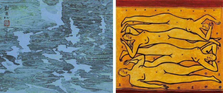 劉國松|熊貓海春波(局部) 28.5x56.2cm;常玉|四女裸像(藝術微噴)