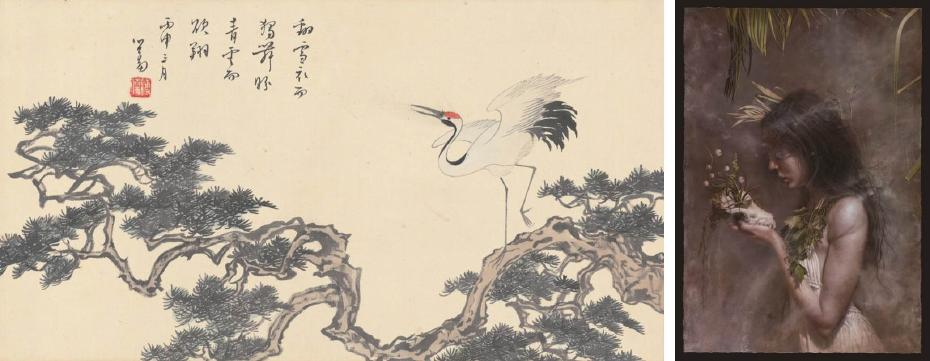 溥心畬|松鶴延年 24x45cm;羅展鵬|鬱鬱蔥蔥的生命 112x162 cm 像素式罩染法創作