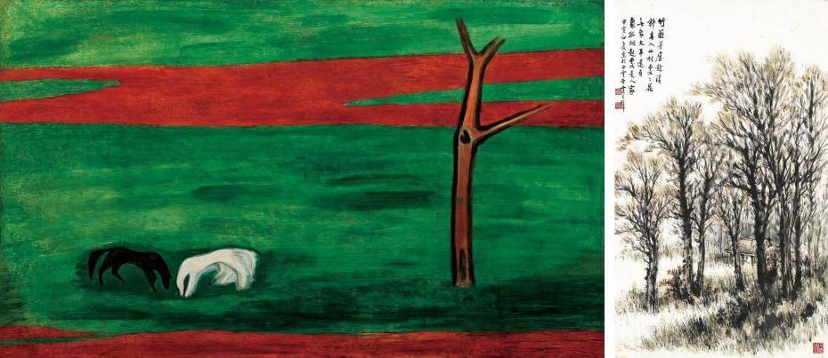 常玉|黑白雙馬(藝術微噴);黃君璧|竹籬茅屋 94x56cm