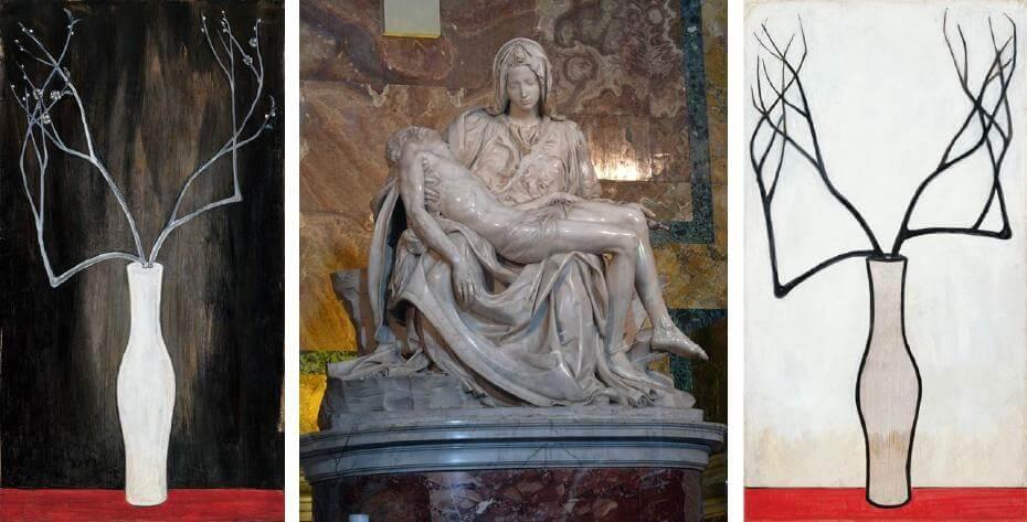 常玉|瓶梅(藝術微噴);米開朗基羅|哀悼基督;常玉|靜物(藝術微噴)