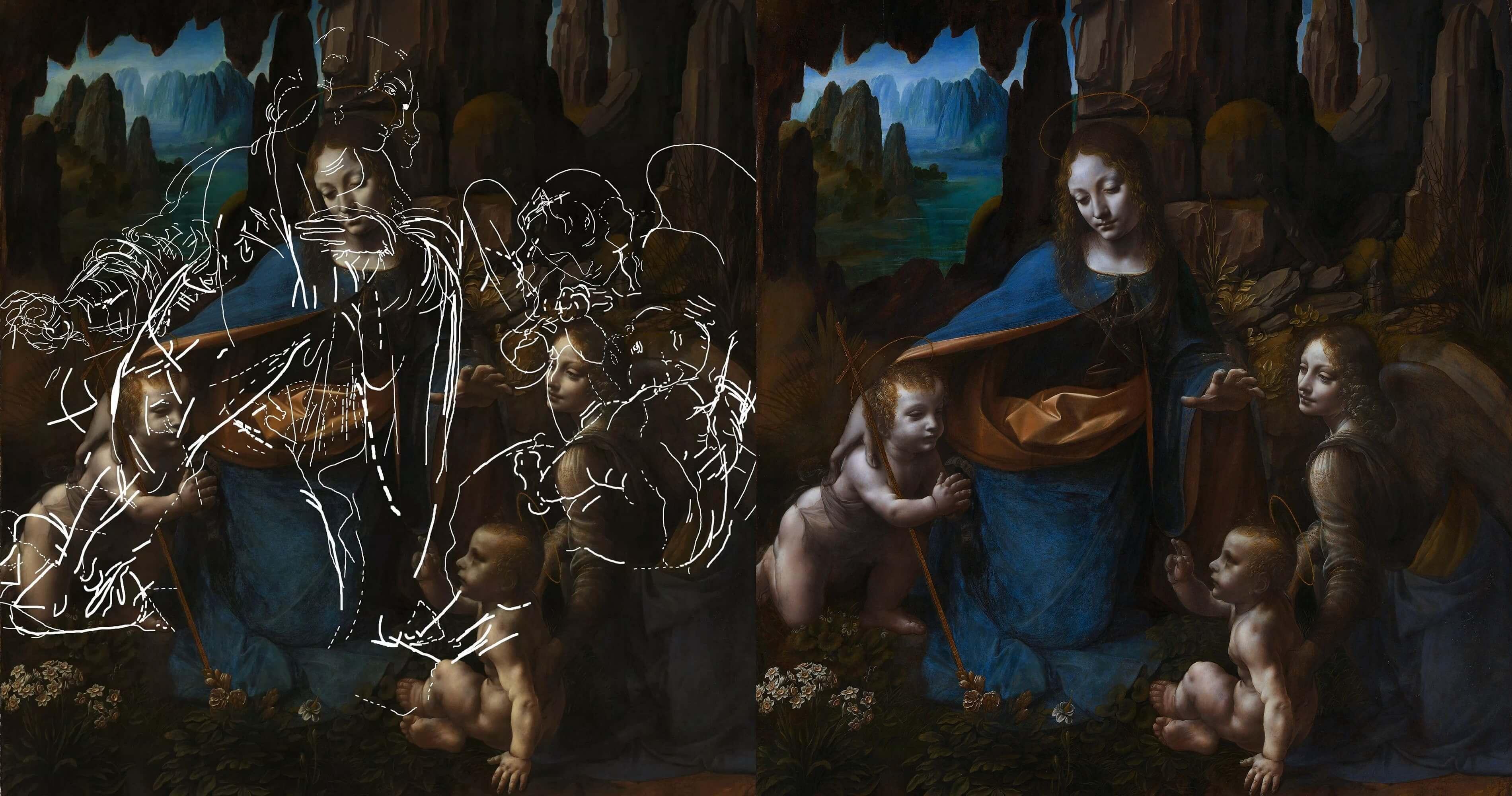 達文西逝世五百年特展 沉浸式體驗【岩窟中的聖母】的隱藏構圖